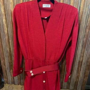 St. John Red Evening Dress w/Belt size 6
